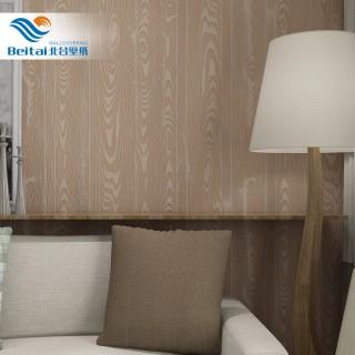 中式复古仿木纹墙纸