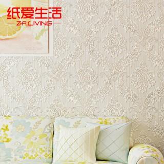 【纸爱生活】欧式无纺布3d浮雕大马士革卧室墙纸纯色素色客厅电视