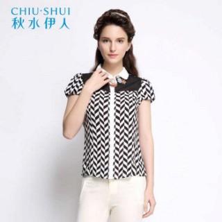 精致优雅黑白拼色斜格纹时尚雪纺衬衫