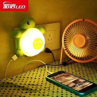 声控光控床头usb充电照明小夜灯
